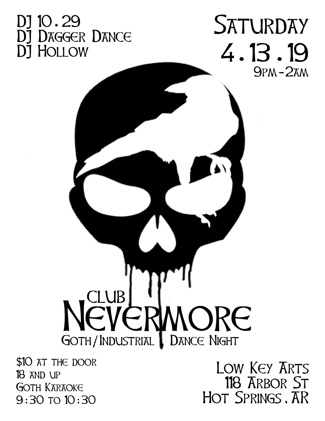 Flyer for Club Nevermore, goth-industrial dance night, in Hot Springs